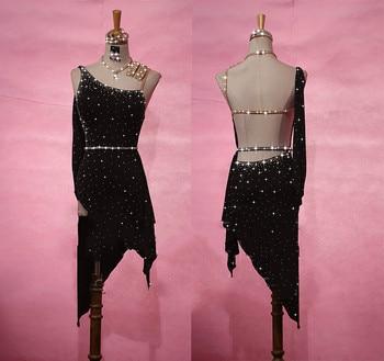 Shiny Rhinestone Female Latin Dance Skirt High-end Custom Sexy Shine Starry Rumba Latin Dress Women Performance Clothing