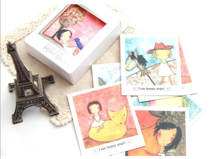 Hot selling Korea Angel girl series diy fun paper box postcard.postcard set.cute post card.fashion gift printed Card.