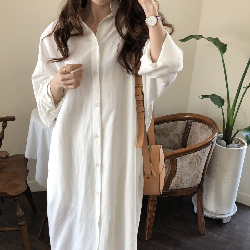 Blue Long Sleeve Long Shirt Dress Spring Casual Patchwork White cotton Dresses Collar Buttons Loose Dresses Robe Femme Vestido 21
