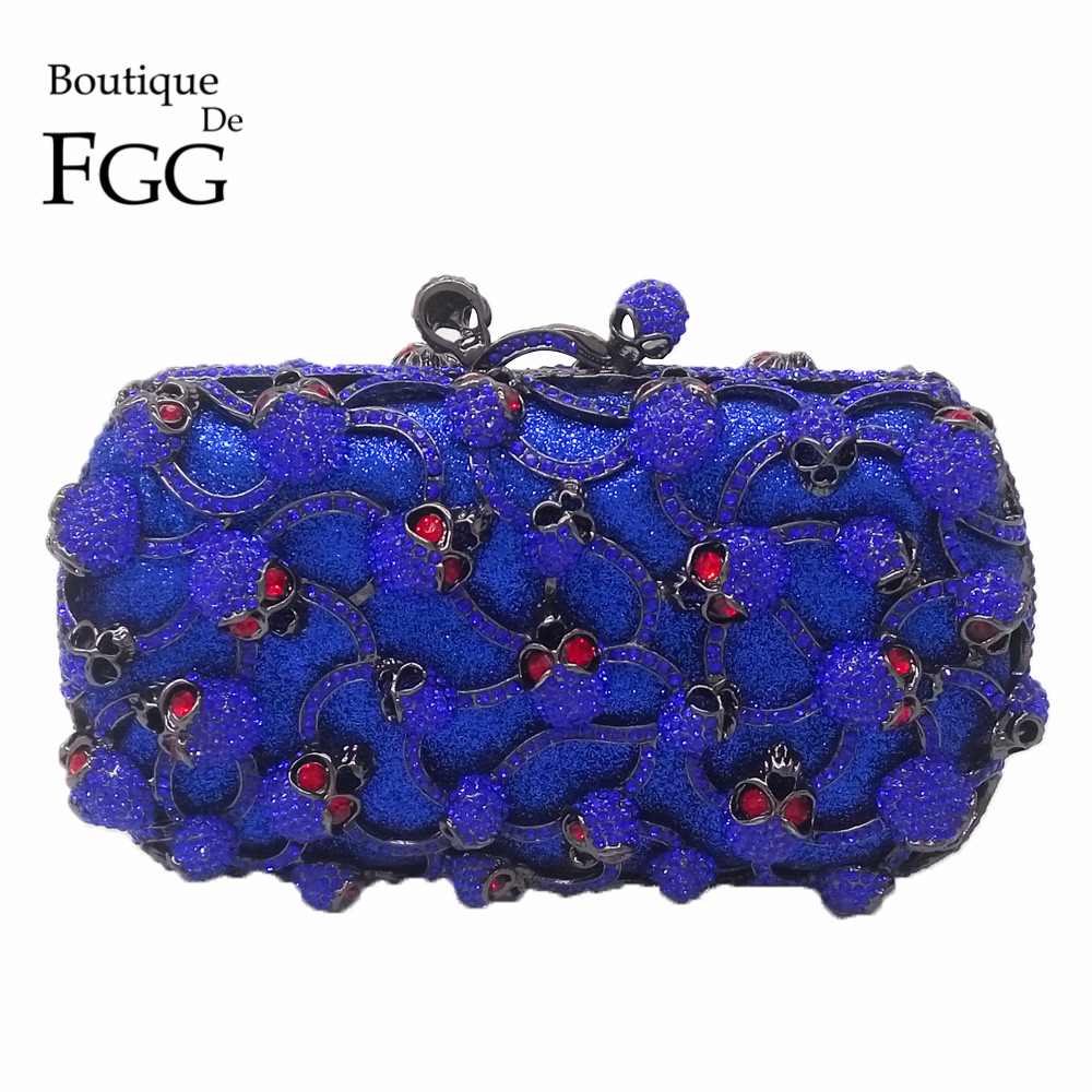 ФОТО Red Eyes Royal Blue Crystal Skull Hollow Out Women Box Evening Bags Bridal Wedding Party Cocktail Handbag Metal Clutches Purses