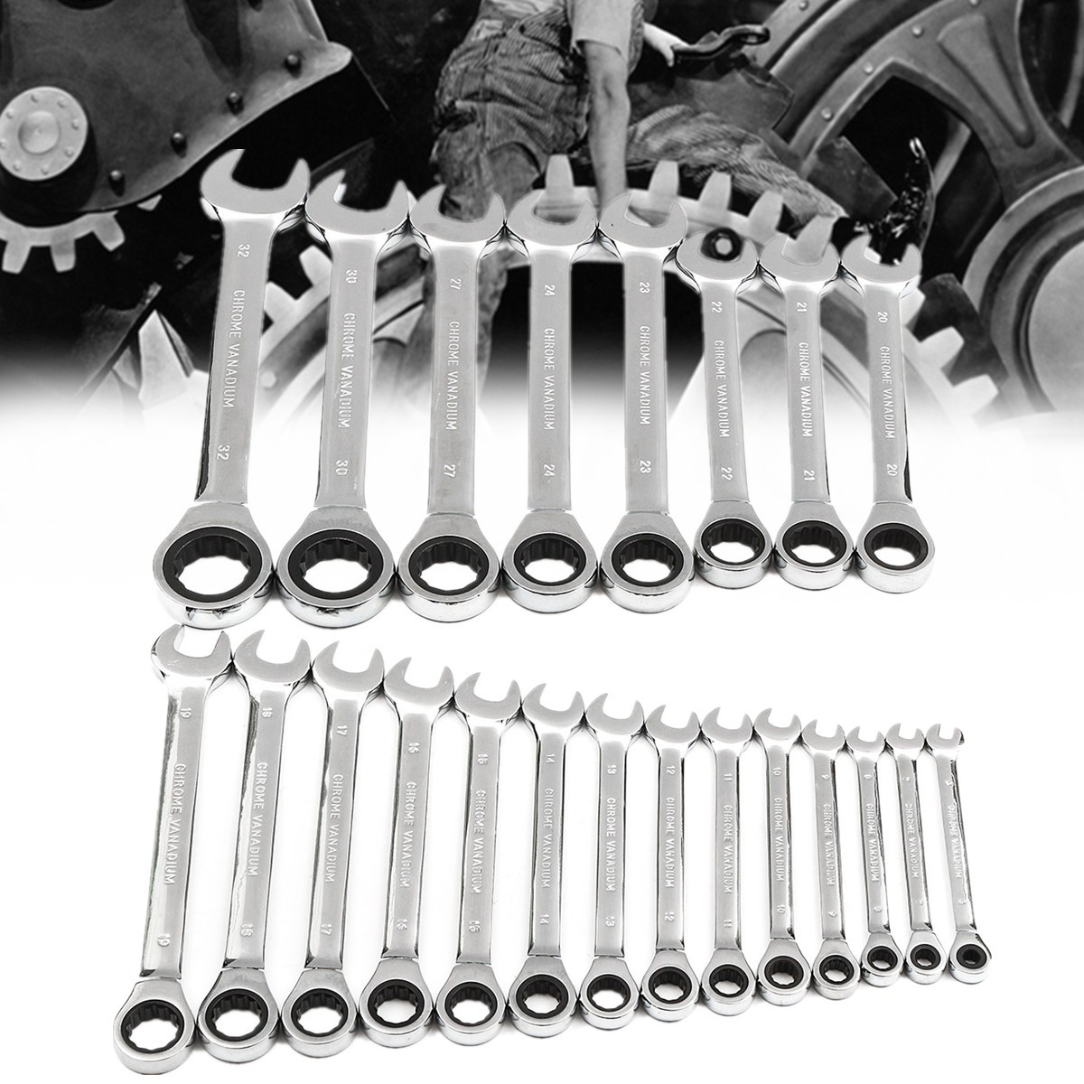 6mm-32mm Spanner  Steel Metric Fixed Head Ratcheting Ratchet Open End & Ring Chrome Vanadium Steel Mirror Polished
