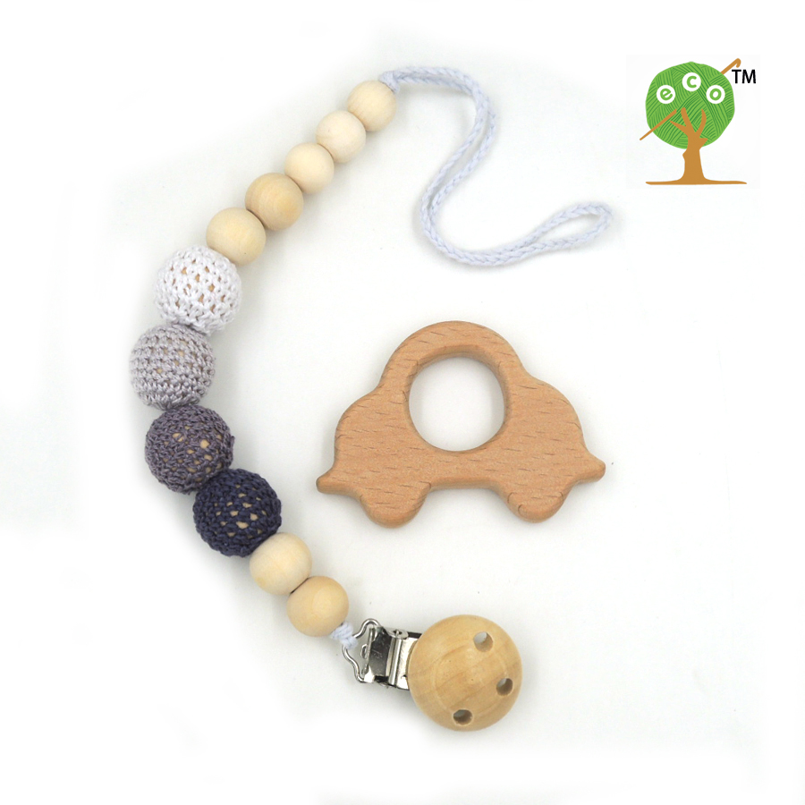 natural pacifier clip dummy holder safe wooden crochet beads shade of grey tone beech car teether set baby boy gift box NT172
