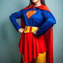 Mulheres Traje de Super-heróis Meninas Supergirl Superwomen Cosplay T-Shirt de Manga Longa Capa Vermelha Capa Fancy Dress for Party Halloween
