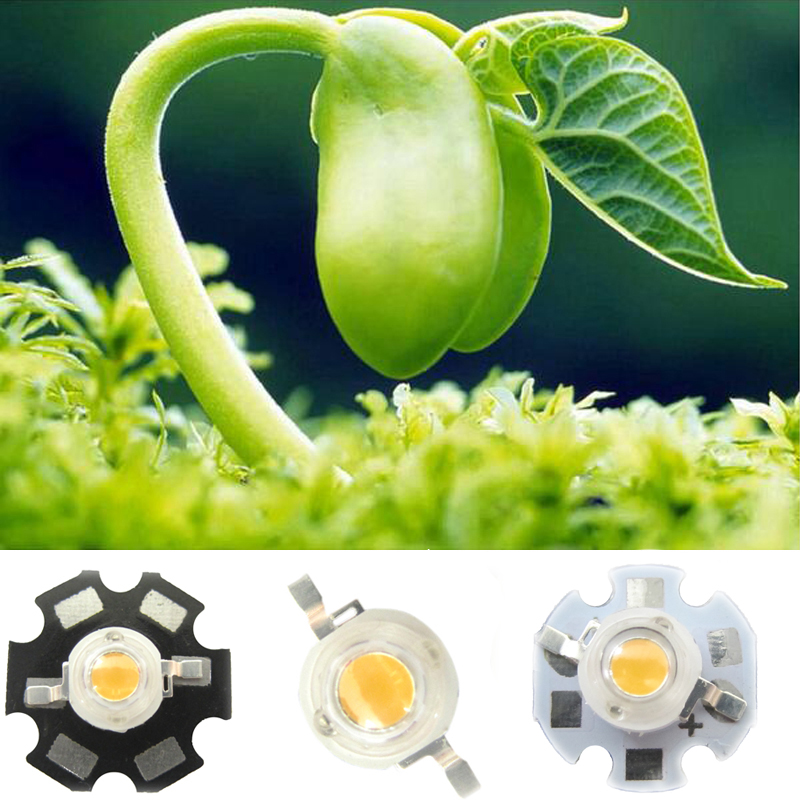 Lot 5 10 20 50 100pcs 1w White Full Spectrum 380~800nm LED Bead Diode Bulb Light  For Plant Grow With 20mm / 16mm Base Plate