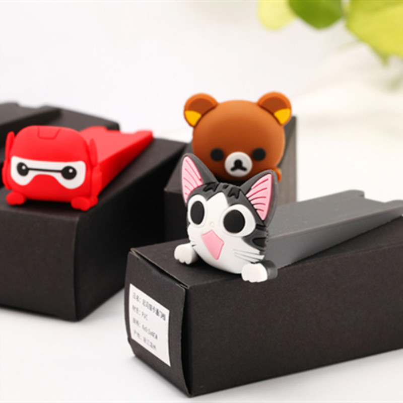 ETya Cartoon Silicone Door Stopper Wedge Door Catcher Block Home Office Children Security Door Card Bear Armor Cat Shape