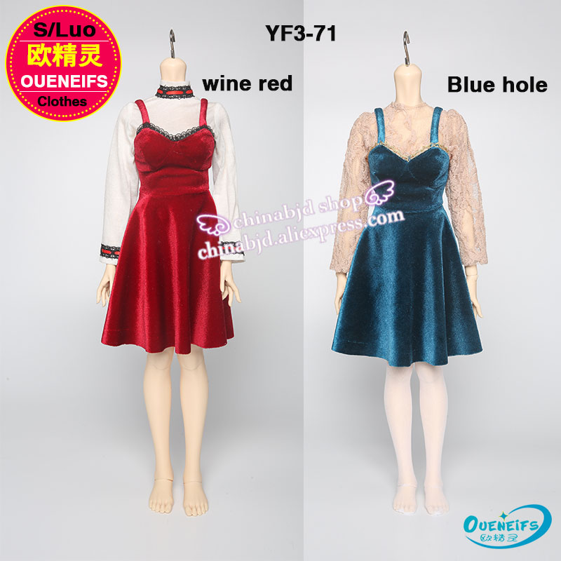 Oueneifs customization original clothes skirt 1/3 girl wine red Blue hole skirt with shoulder-straps have not bjd sd doll or wig oueneifs girl boy baby jumpsuits send cap customization bjd clothes doll 1 12 clothes yf12 29 30 31 32 have not wig or doll
