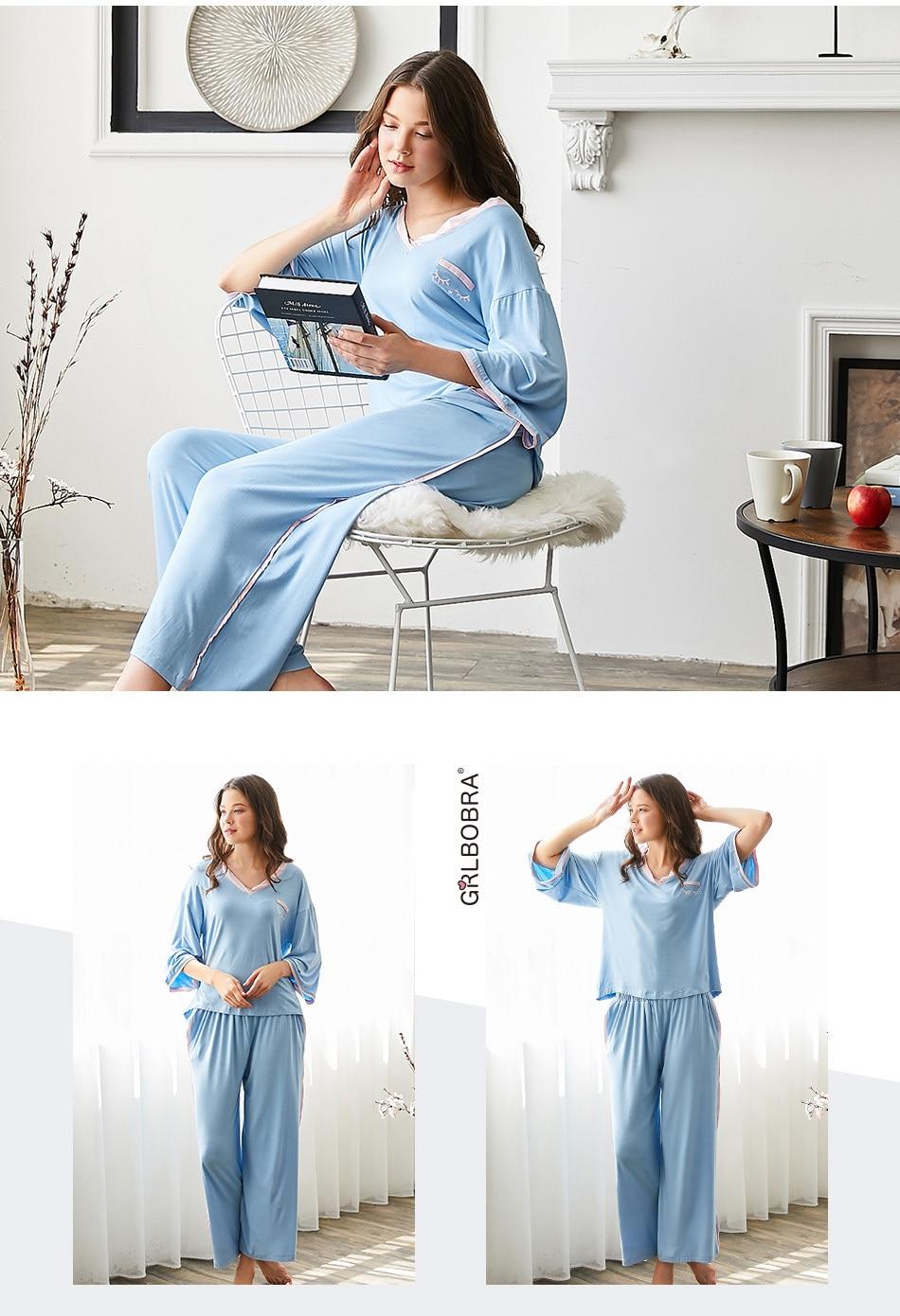 2019 Women S Pajama Set Sweet V Neck Long Sleeve Brief Casual Comfy ... ba18b3d82
