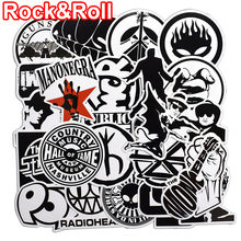 50 Pcs Rock & Roll Black and White Stickers for Laptop Skateboard Luggage Guitar Suitcase Music Punk Graffiti PVC Sticker Pack(China)
