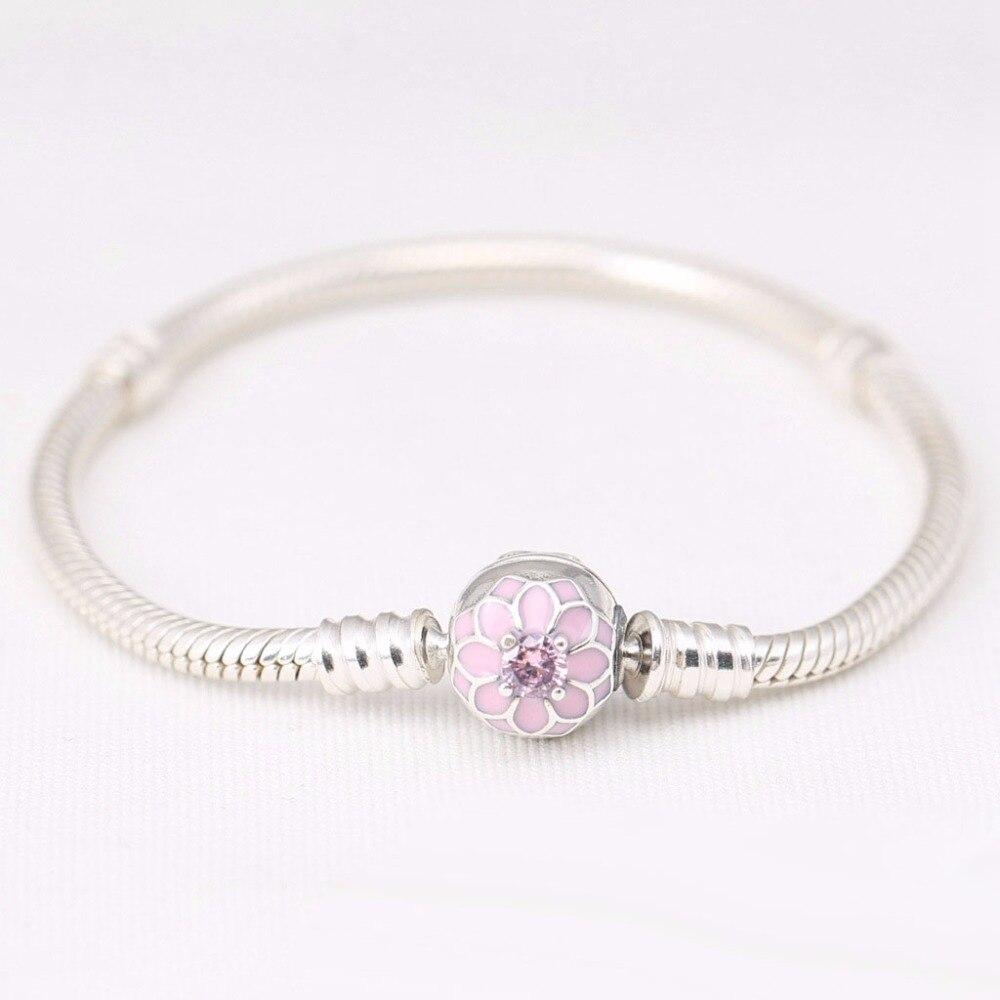 Dahlia clip boucle serpent os bracelet authentique 100% 925 argent Sterling Compatible avec l'europe bijoux pour les femmes en gros