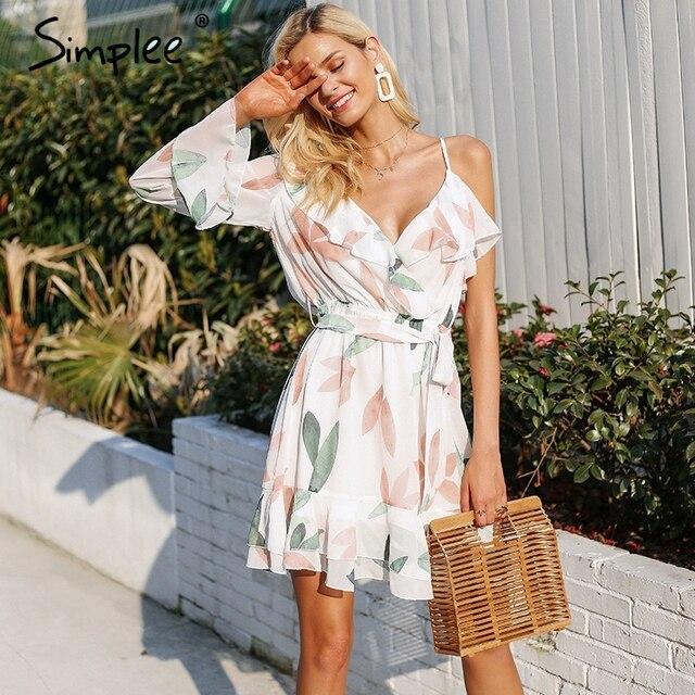 d98be20718 Simplee V neck print bohemian beach dress Irregular ruffles summer ...