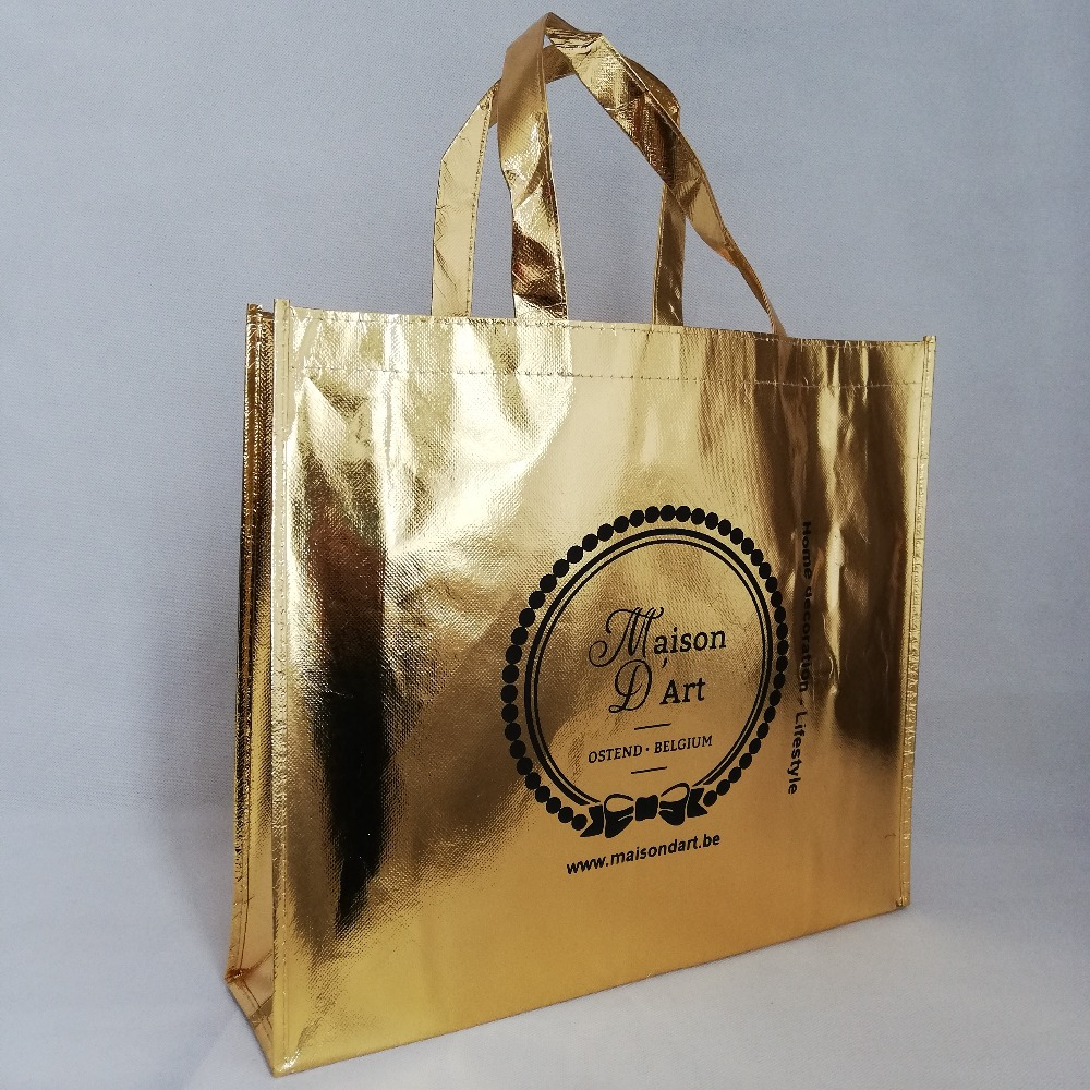 500pcs lot 30Hx40x10cm Reusable Custom Logo Metallic Non Woven Shopping Tote Bags Gold Laser Lamination for