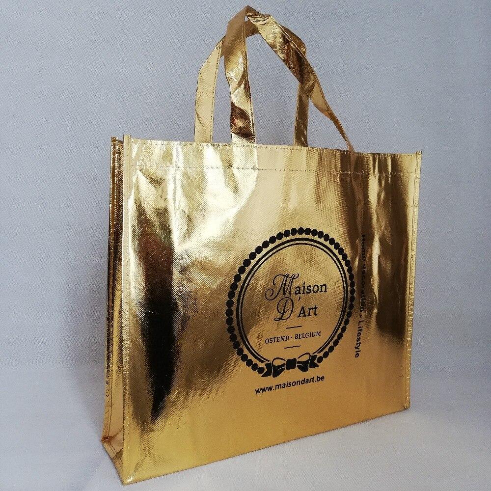 500 unids/lote 30Hx40x10cm logotipo personalizado reutilizable bolsas de compras metálicas no tejidas laminación láser de oro para ropa y zapatos-in Bolsas para compras from Maletas y bolsas    1