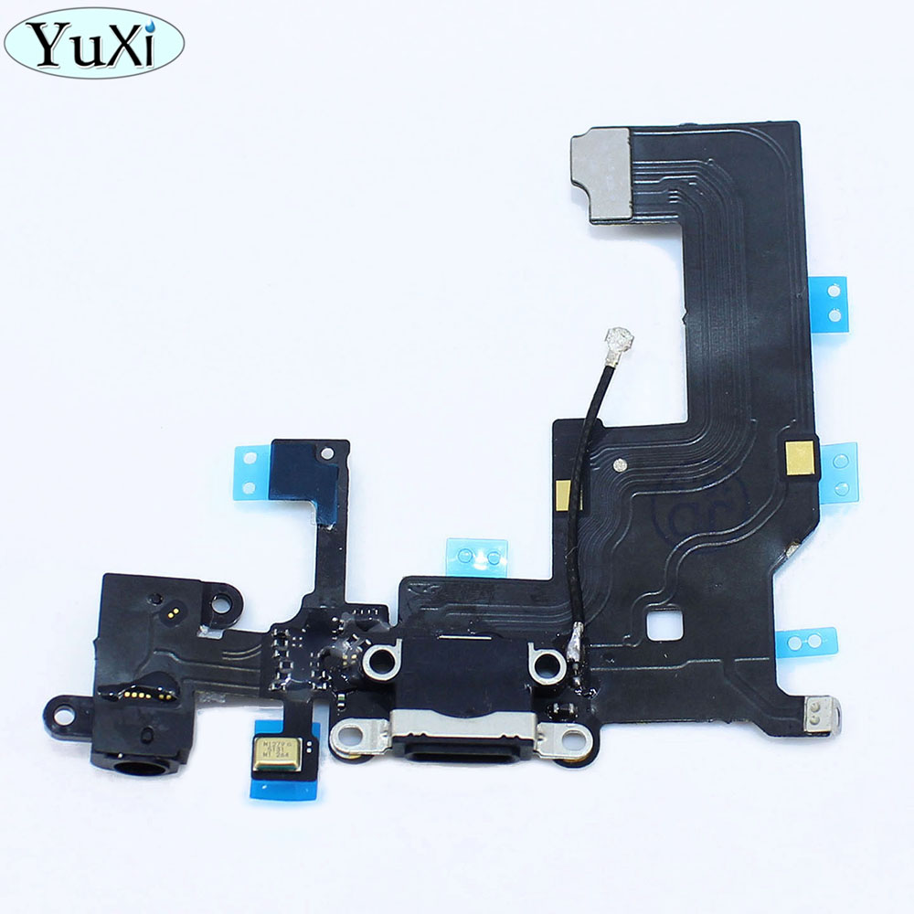 YuXi For iPhone 5 5g Headphone Jack Flex Ribbon 1pcs/lot NEW Black Charger Charging port Dock USB Connector Data Flex Cable