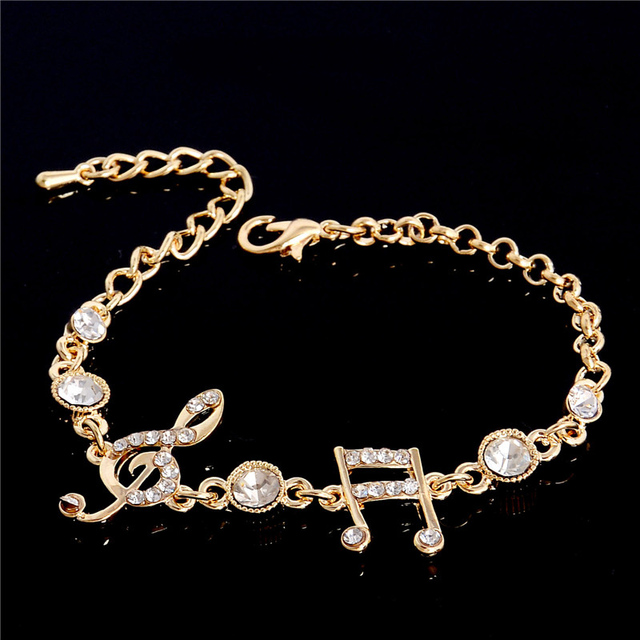 SHUANGR Bestfriend Gift Gold Color Music Notes Czech Crystal Ladies Bangle Bracelets for Women Fashion Jewelry Bracelets