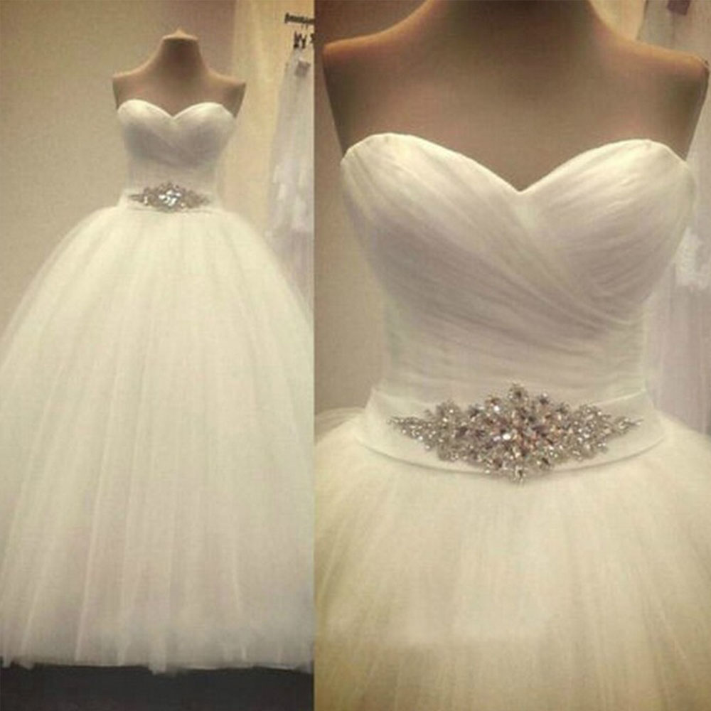 US $61 19 28% OFF|ZJ9056 2019 2020 New Prom Gown Sweetheart Sleeveless  White Ivory Tulle Bridal Wedding Dress Bride Gown Plus Siz-in Wedding  Dresses