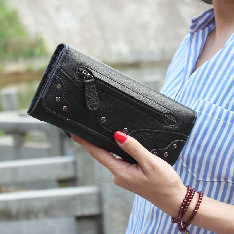 Luxury Brand Leather Long Phone Wallets Women Vintage Purses Hasp Wallets Credit Card Holders Zipper Pocket Clutch Bags Female