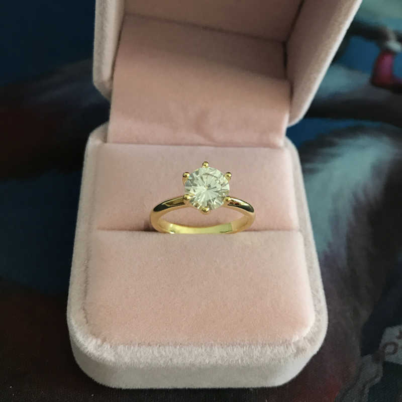 YANHUI 本物のオリジナルと 18 18KRGP スタンプゴールドリング 2 カラット Cz ジルコン婚約結婚式の金の指輪 ZR169