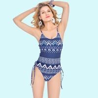 Women Swimwear Criss Cross Multi Strappy Geometrical Print High Cut Backless Vintage Sexy Brazilian Monokini One