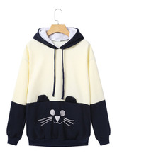 Cartoon Cat Applique Lovely Hoodies Harajuku Women Autumn Winter Warm Patchwork Drawstring Sweatshirt Poleron Mujer Ey* 10pcs lot richtek model code ey ey cf ey ca ey ef qfn 32