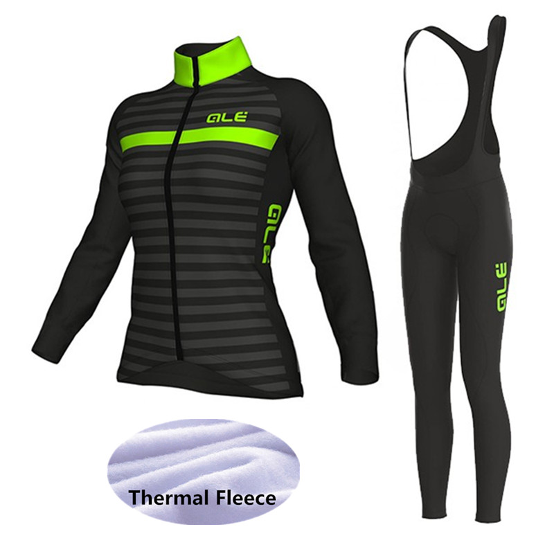 New ALE Women Cycling Set Winter Thermal Fleece Long Sleeves Cycling Jerseys Ropa Ciclismo Bicycle MTB Bike Cycling Clothing veobike men long sleeves hooded waterproof windbreak sunscreen outdoor sport raincoat bike jersey bicycle cycling jacket