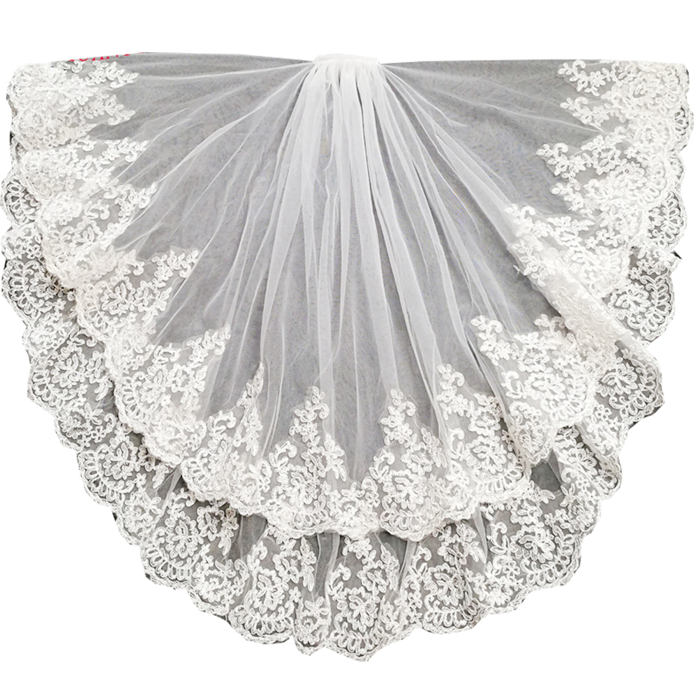 short wedding veil waist length bridal veils two layers with comb lace edge wedding veils 2020 hair wedding accessories