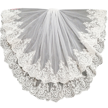 short wedding veil waist length bridal veils two layers with comb lace edge 2020 hair accessories