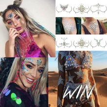 3D Jewelry Mask Body Adhesive Glitter Stickers Tattoo Rhinestone Face Breast Art Decor Jewelry Set