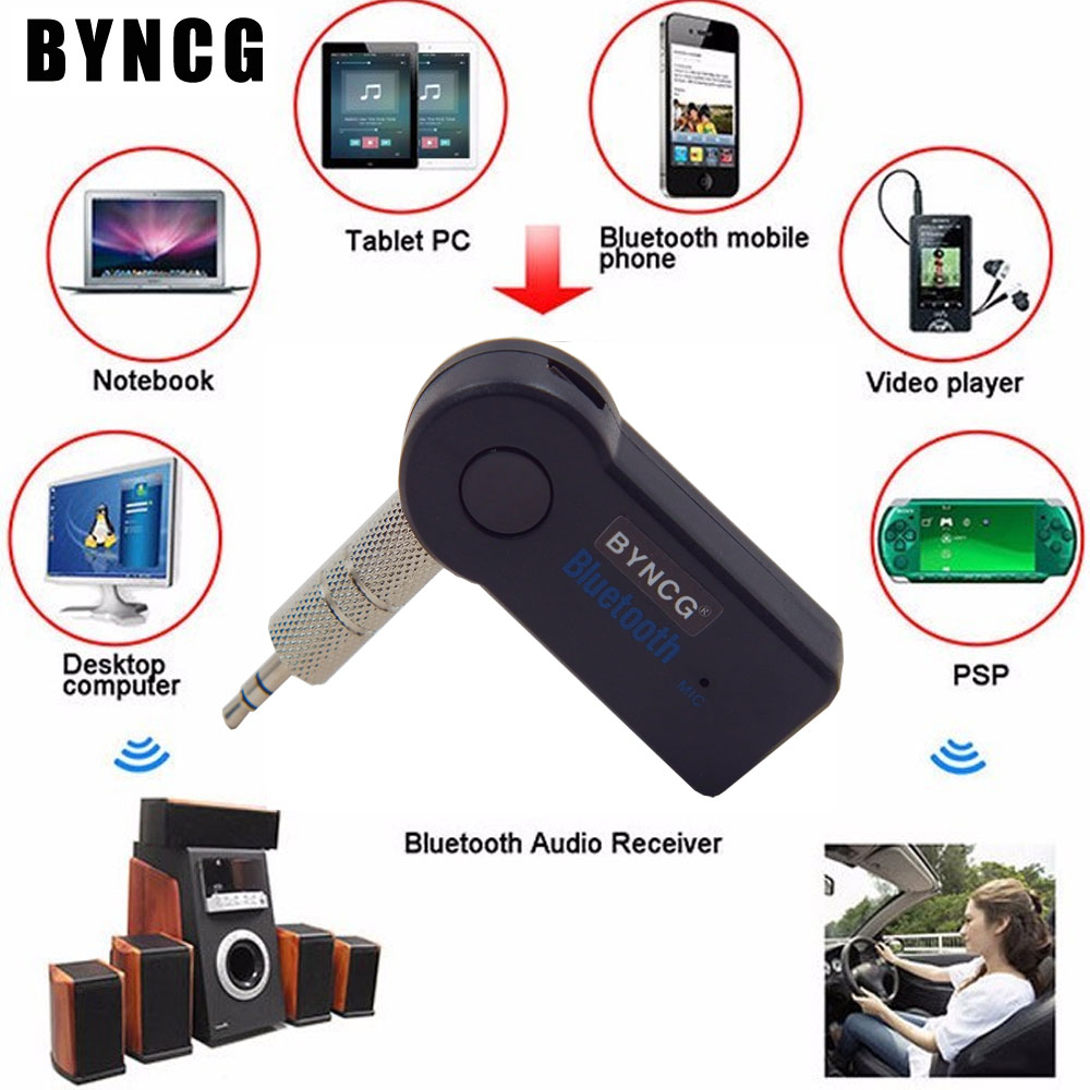 Car bluetooth universal wireless aux audio adapter with mic