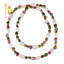 [NYMPH] Baroque Pearl Necklace Pearl Jewelry Natural Freshwater Irregular Pearl 2 Rows Long New Trendy For Party [X219]