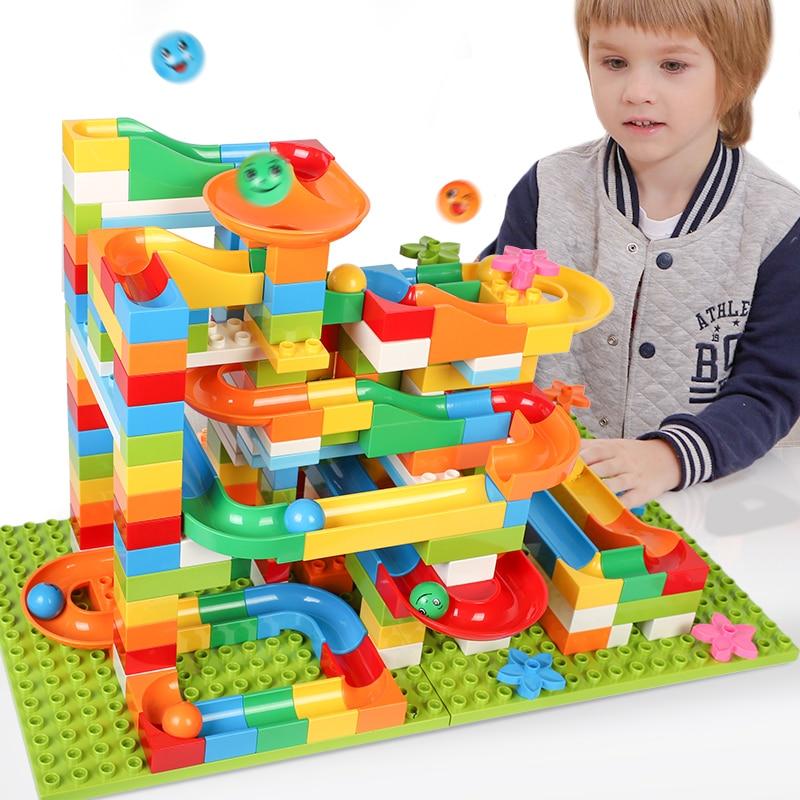 42-183pcs Construction Marble Race Run Balls Track Building Blocks Big Size Educational Bricks Compatible With LegoED DuploED