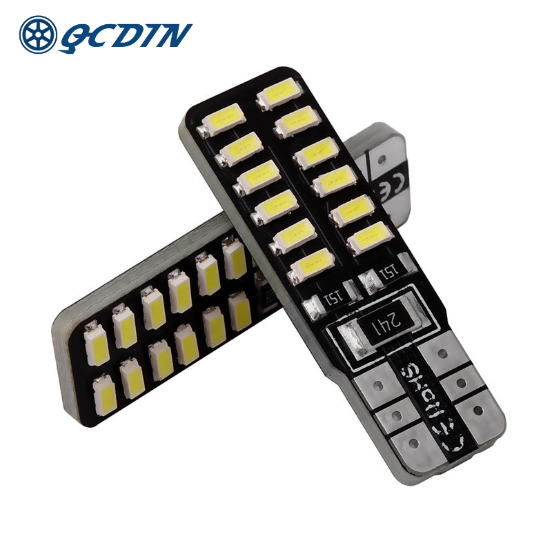 QCDIN <font><b>100Pcs</b></font> <font><b>CANBUS</b></font> Car LED Signal Lamp <font><b>T10</b></font> W5W/194 12V White Lights <font><b>Canbus</b></font> Error Free 3014 24SMD LED Replacement Lamp image