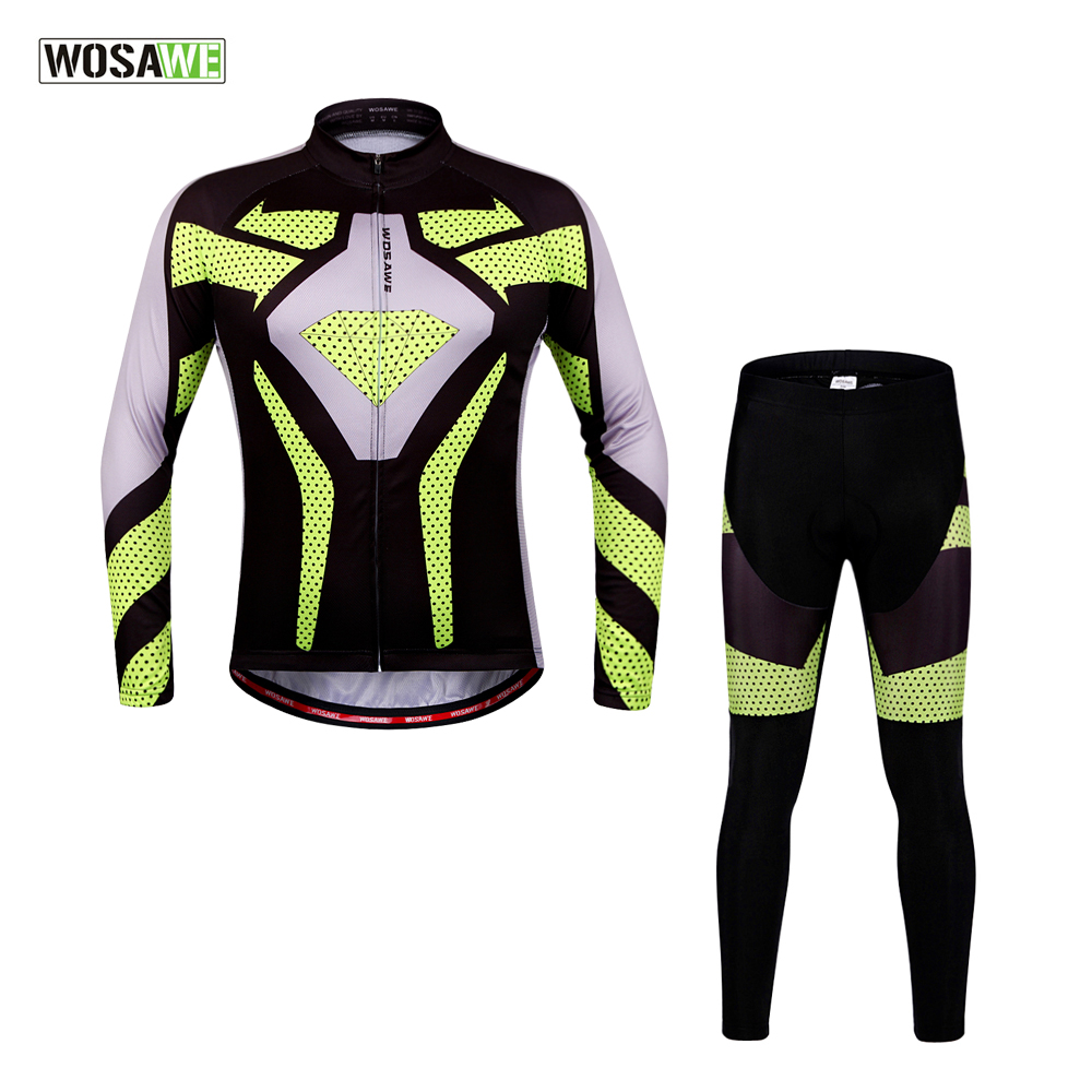 ФОТО WOSAWE 100% Polyester Men's Cycling Jersey Sets Long Sleeve Bicycle Shirts + Gel Padded Pants Summer Spring Cycling Clothings