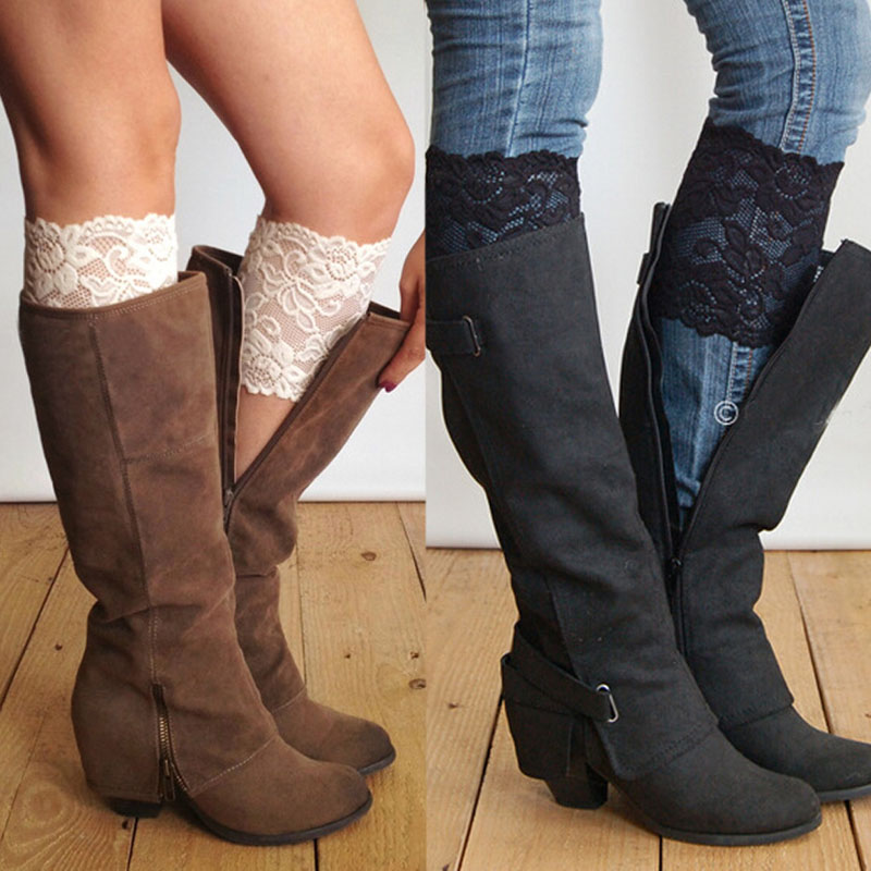 Fashion Women Stretch Lace Boot Cuffs Flower Leg Warmers Lace Trim Toppers Socks