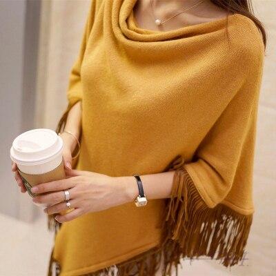 Женский весенне-осенний вязаный свитер, пончо, пальто, однотонный элегантный пуловер, джемпер с неровными кисточками, накидка, накидка для женщин - Цвет: yellow