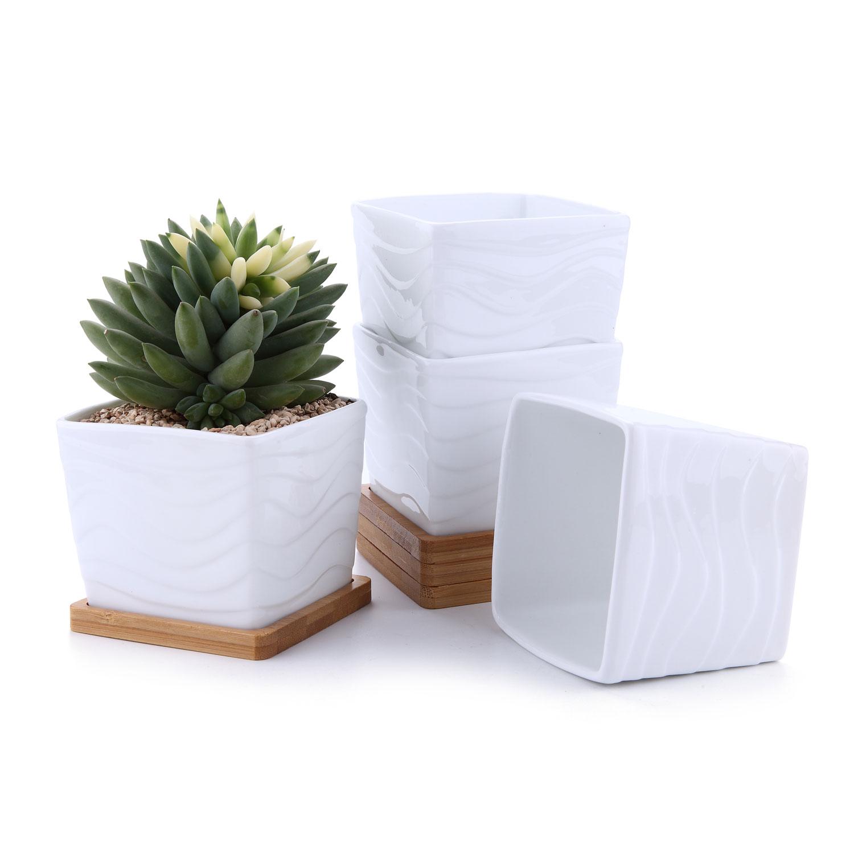 T4U 3.25Wave Ripple Square Sucuulent Cactus Plant Pots Flower Pots Planters Containers Window Boxes Small Hole White Set of 4
