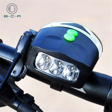 Bright Bicycle Front Lamp Horns 3 LED Electronic Bike Handlebar Ring Bell Loud Horn Cycling Alarm Sound Headlight for Bicycles
