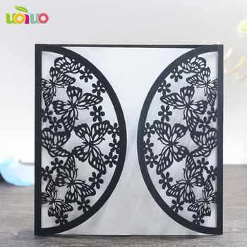 50pc Vertical Laser Cut Butterfly Invitations Cards Kits for Wedding Bridal Shower Birthday (black)