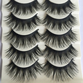 5 Pairs Long Thick Eye Lashes Extension Cross Makeup Tool False Fake Eyelashes