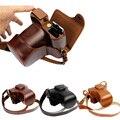 Luxo pu leather camera bag para fujifilm x-t10 xt10 w/16-50mm lente da câmera caso couro com alça