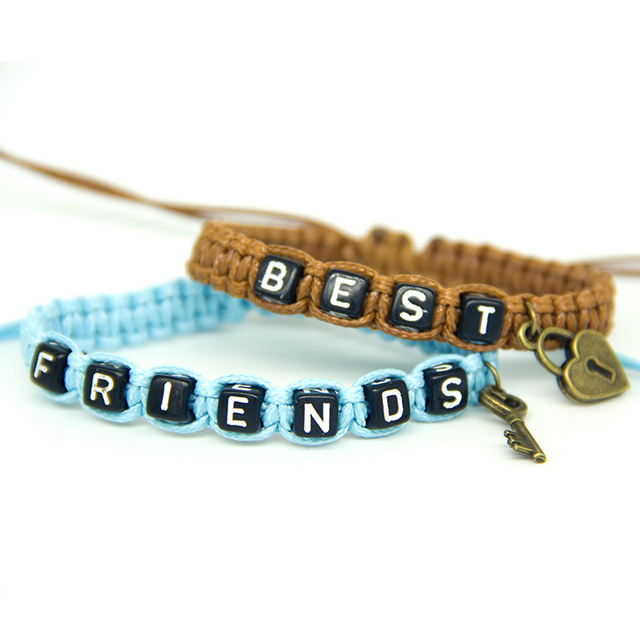 2pcs/pair Couple Bracelets Brown Best Lock And Blue Friends Key Rope Chains Lovers Gift Handmade Men Charm Bracelets Accessories