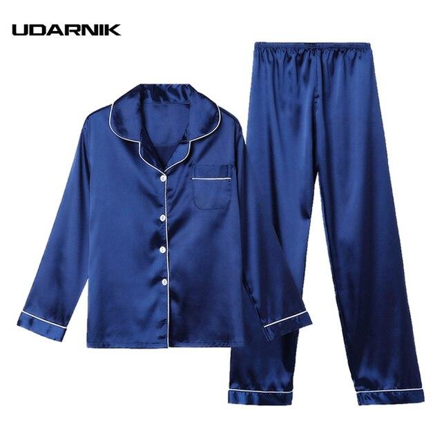 52484b77f1 Gli uomini Blu del Raso Completi da notte e Pigiami Pieno Lunghezza  Magliette e camicette Pantaloni ...