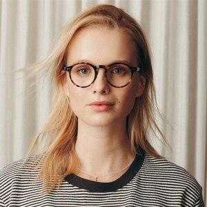 Image 3 - Monture de lunettes optique rétro ronde en acétate, petite monture à lentilles transparentes pour femmes et hommes, monture de prescription