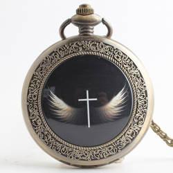 Крыло ангела Винтаж стимпанк карманные часы цепи цепочки и ожерелья для женщин для мужчин кварцевые карманные часы Мода Fob часы PB625