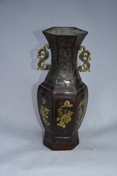 Rare Old Ming Dynasty  copper vase,carving Flowers& birds,best Crafts&Adornment.Free Shipping