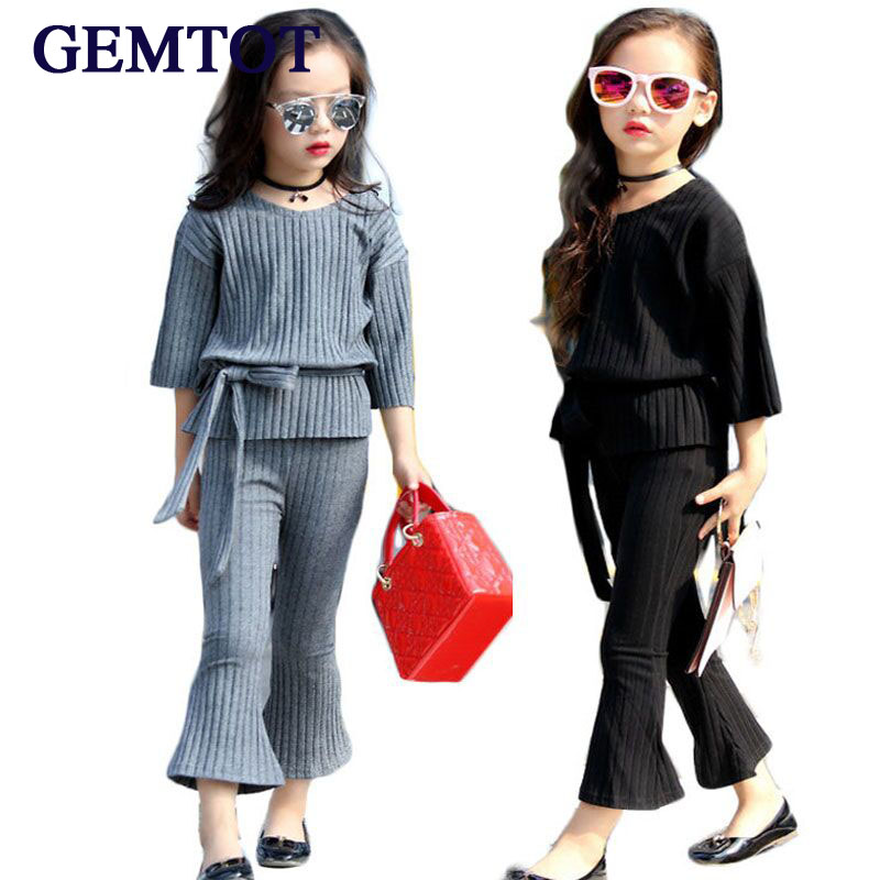 Children's clothing sets 2017 Korean spring and autumn  new girls fashion solid flare sleeve top+pants 2 pcs suits  clothes fashion girls new suit tops and pants 2 sets flare sleeve lotus leaf pattern o neck lace bass pants street style girl clothes