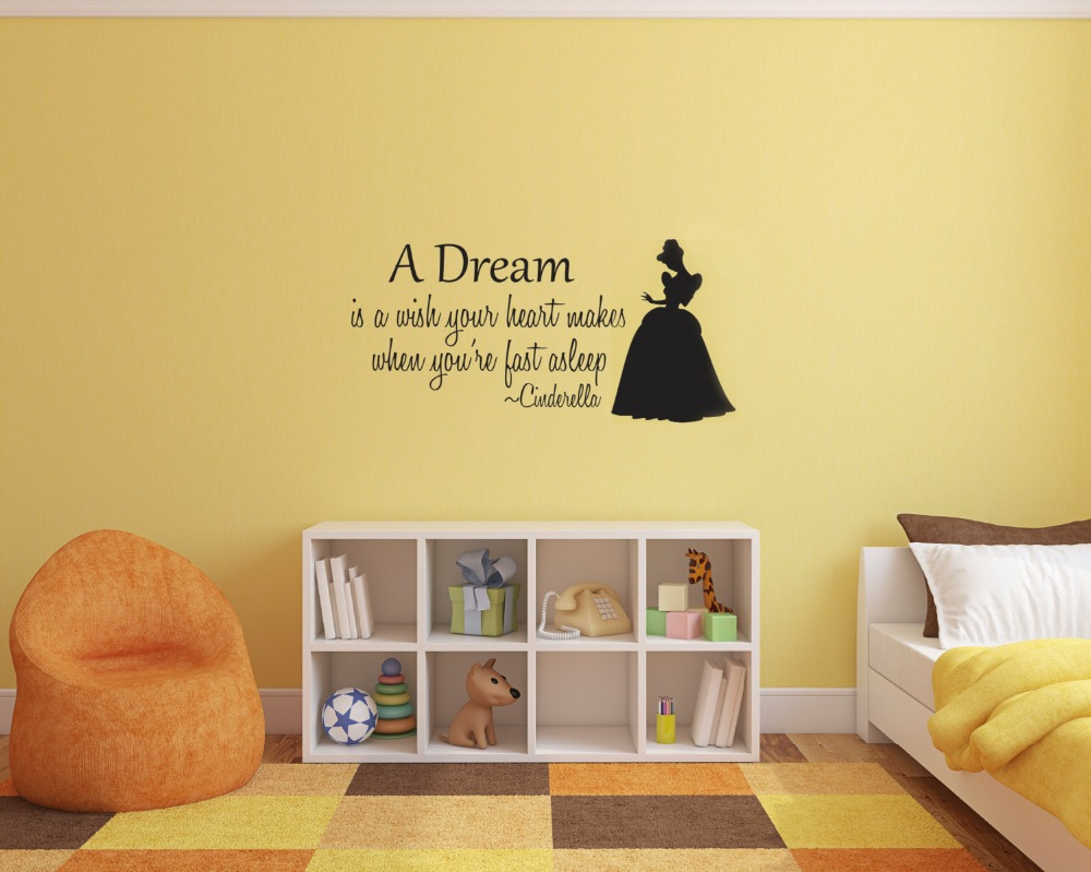 Cinderella wall decal vinyl wall stickers for kids rooms baby cinderella wall decal vinyl wall stickers for kids rooms baby girls bedroom cartoon princess a dream quotes decals art diysyy597 in wall stickers from home amipublicfo Gallery