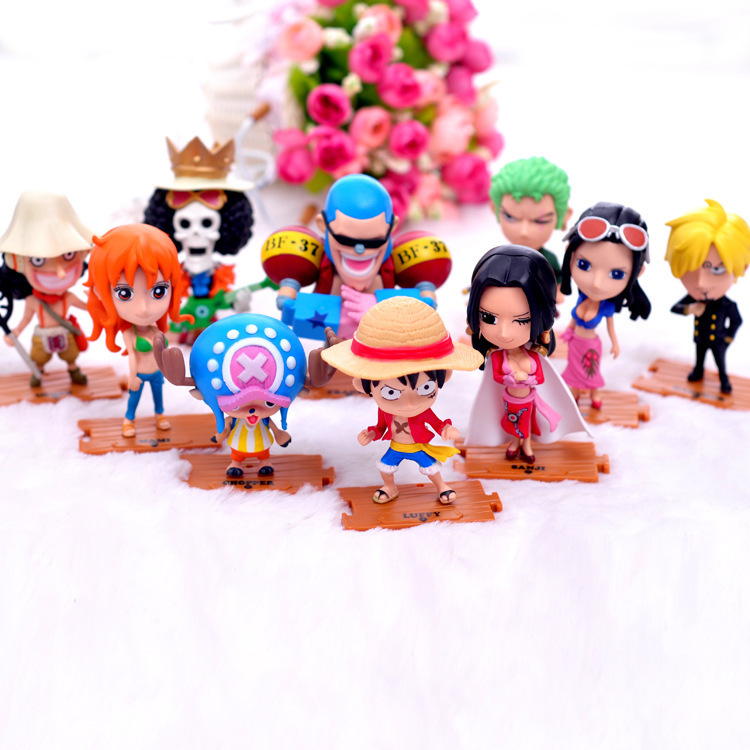 Anime 10pcs/lot One Piece 12cm Size Action Figure Car Collection Model Toys