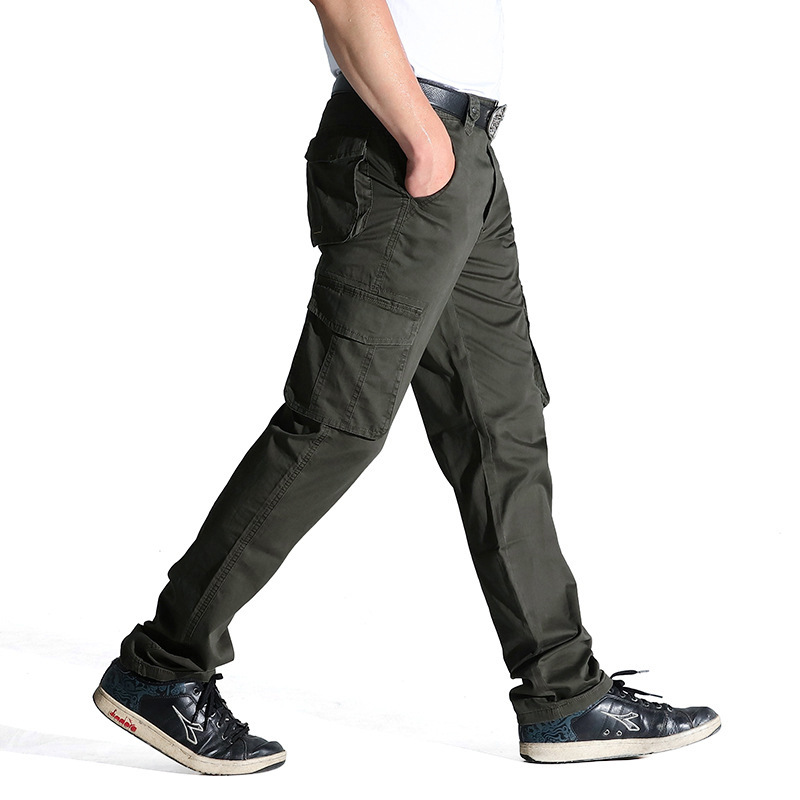 Fashion New Brand Cargo Pants Men Casual Loose Straight Cotton Trousers Men Many Pockets Thin Mens Joggers Pants Plus Size 31-44