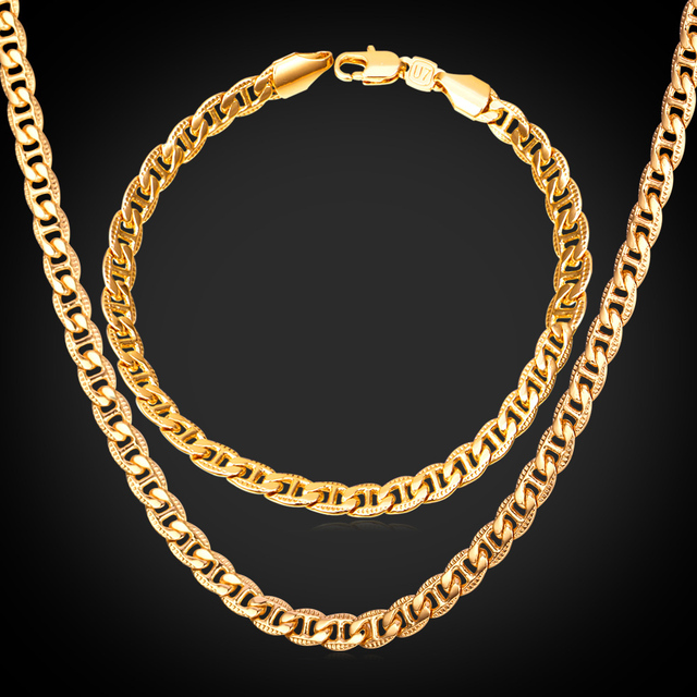 Men Jewelry Set Trendy Fancy Style Mariner Chain Bracelet And Necklace Set Rose Gold / Gold/Silver Color NH1566