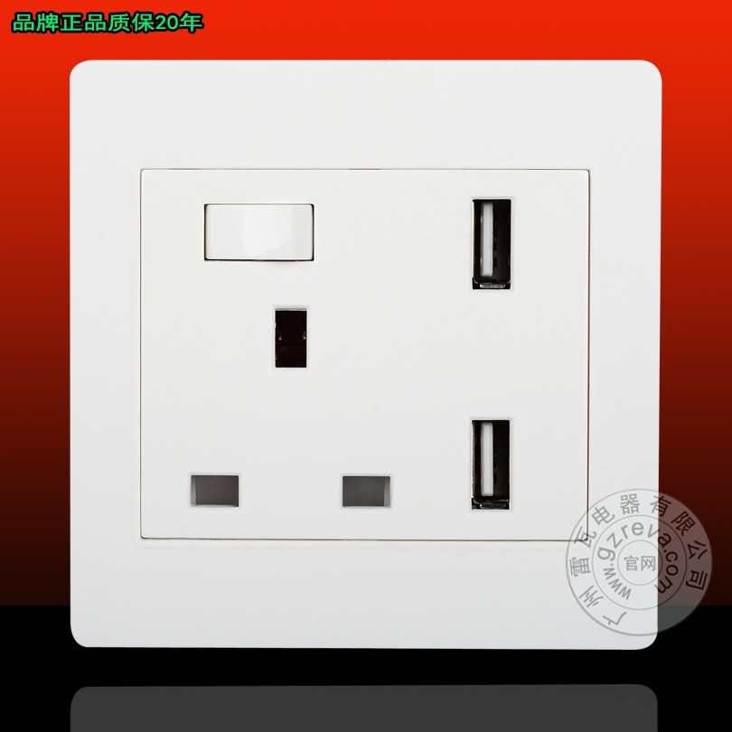 Dual USB socket panel wall switch multi power supply socket 13A British 2.1A electrical outlet European wall switch socket british mk british unit power supply socket metal 13a power outlet british standard unit socket